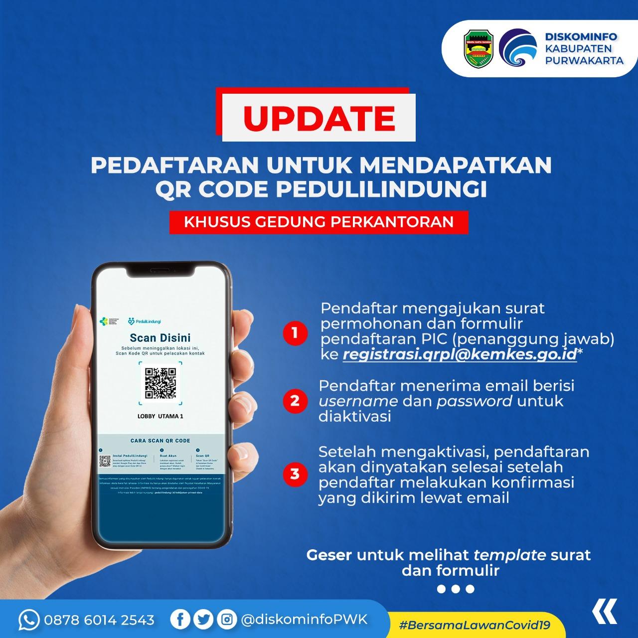 Update Pedaftaran untuk Mendapatkan QR Code PeduliLindungi
